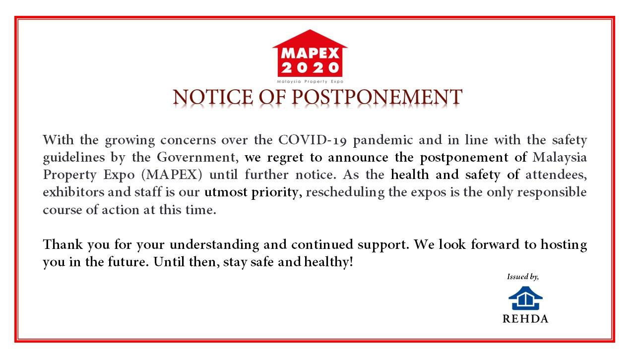 MAPEX Postponement Announcement